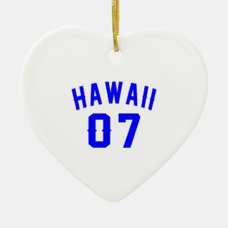 Hawaii 07 Birthday Designs Ceramic Heart Ornament