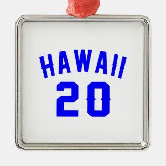 Hawaii 20 Birthday Designs Silver-Colored Square Ornament