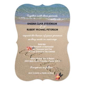 Hawaii Aloha Plumeria Flower Beach Wedding Invites