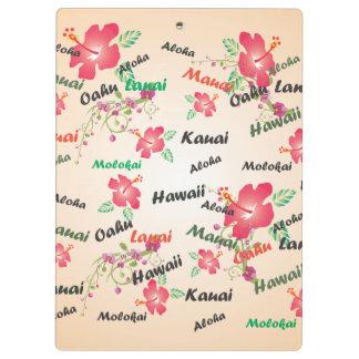 Hawaii Aloha Print with Flowers and Island Names Clipboard