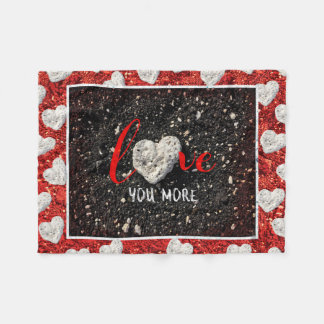 "Hawaii Beach and Coral Heart Photo ""Love You More"" Fleece Blanket"