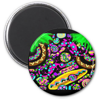 HAWAII  BEACH ART 2 INCH ROUND MAGNET