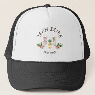 Hawaii Beach Pineapple Tropical Flowers TEAM BRIDE Trucker Hat