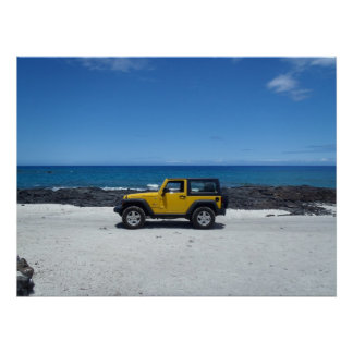 Hawaii beach scene adventure poster
