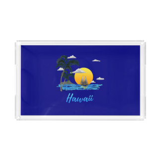 Hawaii Beach Sunset Acrylic Tray