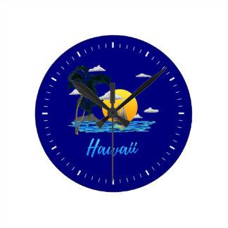 Hawaii Beach Sunset Round Clock
