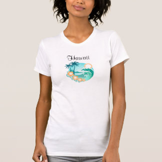 Hawaii Beach Theme Ladies Tank Tee Shirt