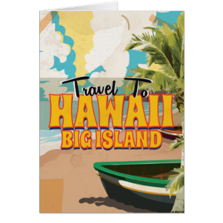 Hawaii Big Island Wedding Vintage Travel poster Card