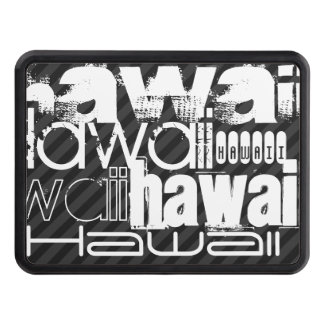 Hawaii; Black & Dark Gray Stripes Trailer Hitch Cover