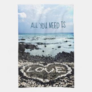 "Hawaii black sand beach & coral ""love"" heart photo kitchen towel"