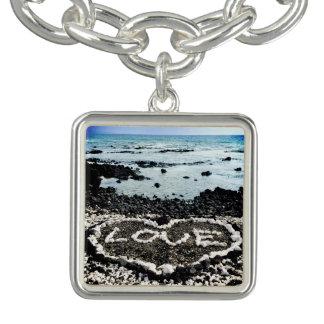 "Hawaii black sand beach & ""love"" coral heart photo bracelet"