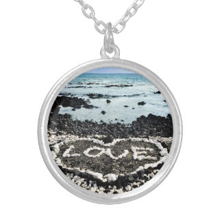 """Hawaii black sand beach & """"love"""" coral heart photo silver plated necklace"""