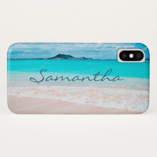 Hawaii blue ocean & sandy beach photo custom name iPhone x case