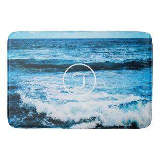 Hawaii blue ocean waves photo custom monogram bath mat