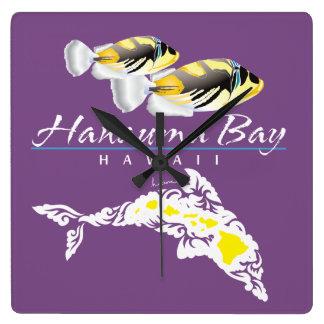 Hawaii Dolphin and Trigger Fish Square Wall Clock