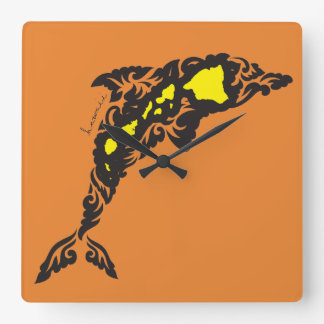 Hawaii Dolphin Square Wall Clock