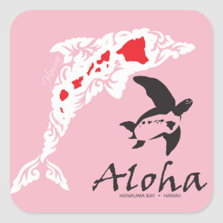 Hawaii Dolphins And Turtle Square Sticker