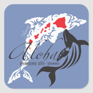 Hawaii Dolphins And Whale Square Sticker