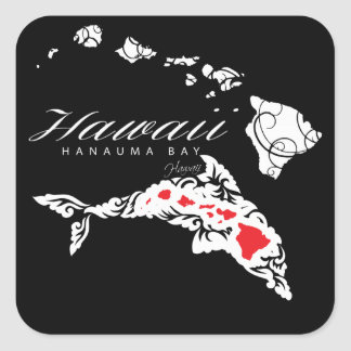Hawaii Dolphins Hawaii Islands Square Sticker