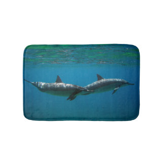 Hawaii Dolphins in the morning Bath Mat