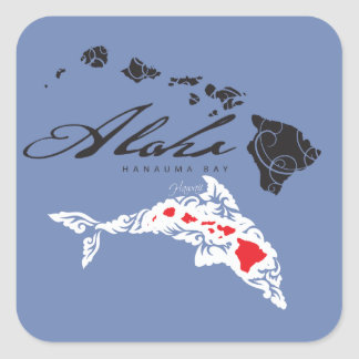 Hawaii Dolphins Islands Square Sticker