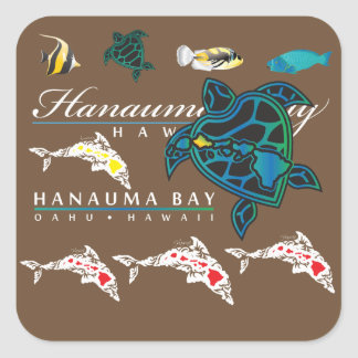 Hawaii Dolphins Turtle islands Square Sticker