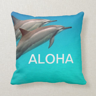 Hawaii Dolphins with Aloha Throw Pillow
