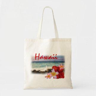 Hawaii flower beach scene reusable bag