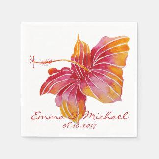 Hawaii Flower Personalized Wedding Paper Napkins