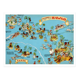 Hawaii Funny Vintage Map Postcard