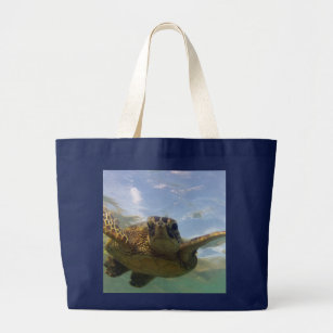 Hawaii Green Sea Turtle Large Tote Bag