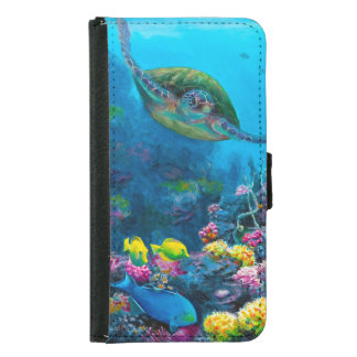 Hawaii Green Sea Turtle Reef Tropical Galaxy S5 Samsung Galaxy S5 Wallet Case