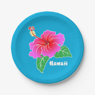 Hawaii Hibiscus 7 Inch Paper Plate