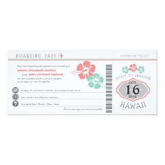 Hawaii Hibiscus Boarding Pass Wedding Card
