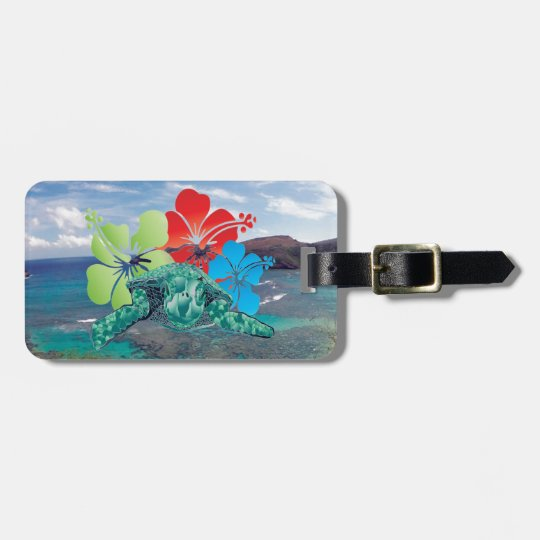 Hawaii Hibiscus Flowers and Turtle Bag Tag