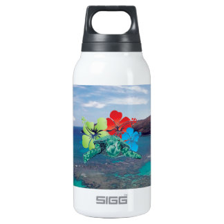 Hawaii Hibiscus Flowers and Turtle Insulated Water Bottle