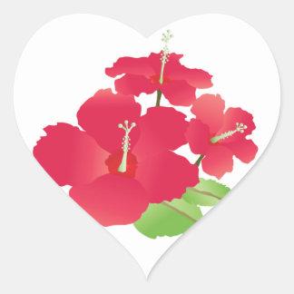Hawaii Hibiscus Flowers Heart Sticker
