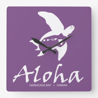 Hawaii Island Turtle Square Wall Clock