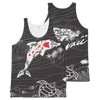 Hawaii Islands and Dolphin All-Over-Print Tank Top
