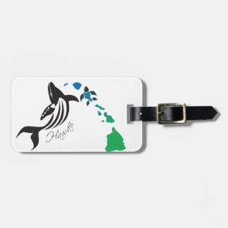 Hawaii islands and Whale 20 Luggage Tag