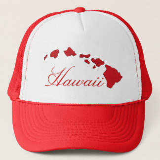 Hawaii islands red white hat