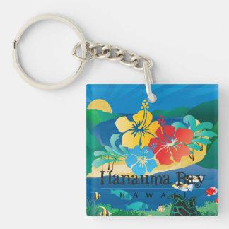 Hawaii Islands Turtle and Flowers Keychain