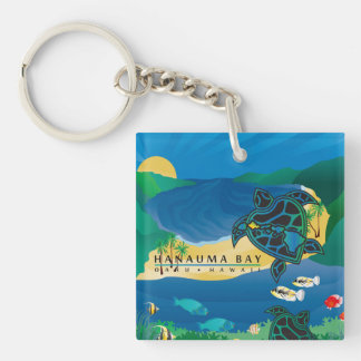 Hawaii Islands Turtle and Parrot Fish Keychain