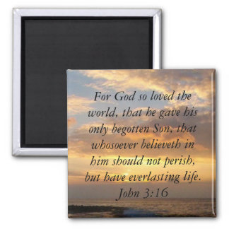 Hawaii John 3:16 Square Magnet