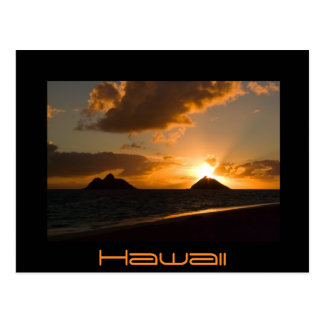 Hawaii Lanikai sunrise black text postcard