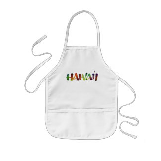 Hawai'i Lettering - Fun Bright Hawaiian Luau Cook Kids Apron