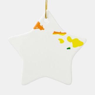 Hawaii LGBT Flag Map Ceramic Ornament