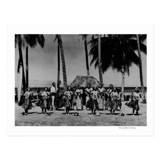Hawaii - Line of Hula Girls Dancing Postcard