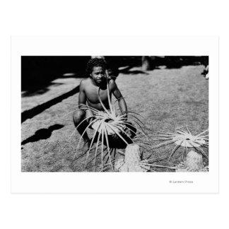 Hawaii - Man Making Coconut Hats Photograph Postcard