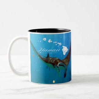 Hawaii Manta Ray and Hawaii Islands Two-Tone Coffee Mug